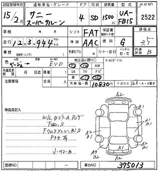 NISSAN SUNNY лот № 2522 оценка 3.5